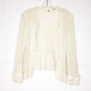 Anthropologie | Crochet Peplum Cardigan
